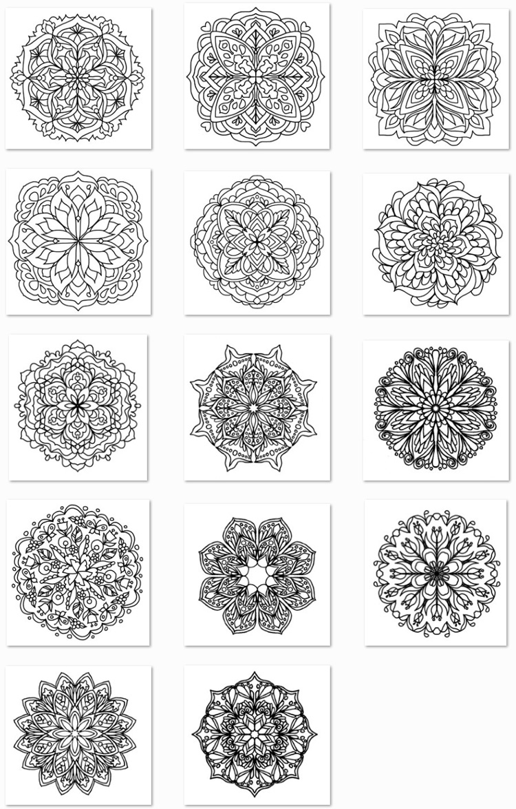 Simple Mandalas Adult Coloring Book Thumbnails