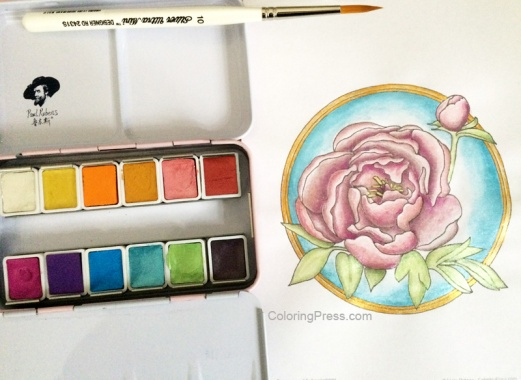 Glitter Watercolors on Peony Coloring Page