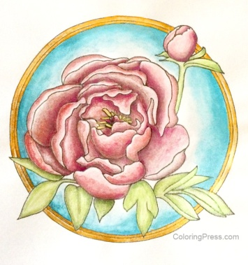 Peony Painted with Paul Rubens Watercolors