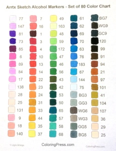Arrtx Sketch Alcohol Markers Sorted by Color